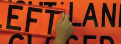 - Roll-Up Construction Sign Overlay: Left (6-in. x 16-in.)
