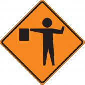 - Roll-Up Construction Sign: Flagger (Symbol)