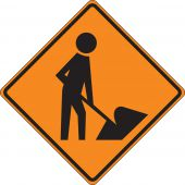 - Roll-Up Construction Sign: Workers (Symbol)