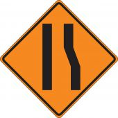 - Roll-Up Construction Sign: Merge Left Lane (Symbol)