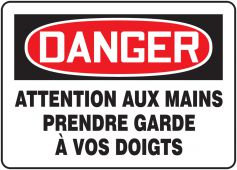- BILINGUAL FRENCH SIGN – EQUIPMENT HAZARD