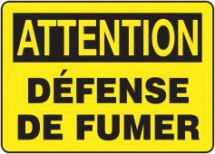- BILINGUAL FRENCH SIGN – SMOKING CONTROL