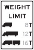 - Semi-Custom Truck Restriction Sign: Weight Limit _ T
