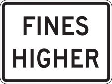 - Speed Limit Sign: Fines Higher