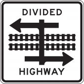 - Rail Sign: Divided Highway with Light Rail Transit Crossing