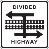 - Rail Sign: Divided Highway with Light Rail Transit Crossing (T-Intersection)