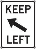 - Lane Guidance Sign: Keep Left (Diagonal)