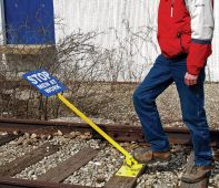 - Foot-Operated Hinged RR Sign Holder