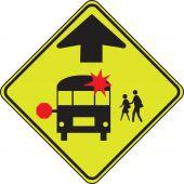 - Fluorescent Yellow-Green Sign: School Bus Stop Ahead
