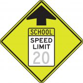 - Fluorescent Yellow-Green Sign: Reduced School Speed Limit Ahead