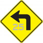- Semi-Custom Direction Sign: Left Turn (Advisory Speed)