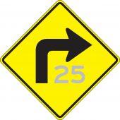- Semi-Custom Direction Sign: Right Turn (Advisory Speed)