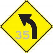- Semi-Custom Direction Sign: Left Curve (Advisory Speed)
