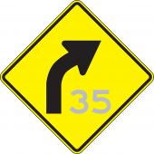 - Semi-Custom Direction Sign: Right Curve (Advisory Speed)