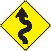 - Direction Sign: Left Winding Road