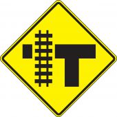 - Traffic Sign: Parallel Railroad Crossing (T-Intersection)