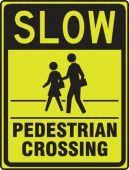 - Fluorescent Yellow-Green Sign: Slow - Pedestrian Crossing