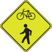 - Fluorescent Yellow-Green Sign: Combined Bicycle/Pedestrian Crossing