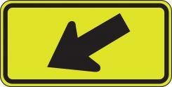 - Fluorescent Yellow-Green Sign: Diagonal Downward Arrow