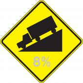 - Semi-Custom Surface & Driving Conditions Sign: Hill (Grade)