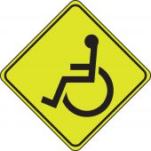 - Fluorescent Yellow-Green Sign: Wheelchair Crossing