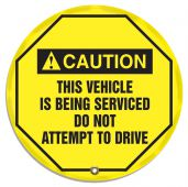 - ANSI Caution Steering Wheel Message Cover: This Vehicle Is Being Serviced Do Not Attempt To Drive