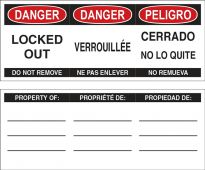 - STOPOUT® Plastic Padlock Danger Label: Locked Out - Do Not Remove