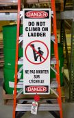 - Bilingual Ladder Shield™ Kit OSHA Danger: Do Not Climb On Ladder