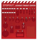 - 12-Padlock STOPOUT® Deluxe Lockout Centers - Board Only