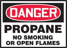 - OSHA Danger Safety Label: Propane No Smoking Or Open Flames
