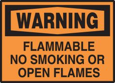 - OSHA Warning Safety Label: Flammable No Smoking Or Open Flames