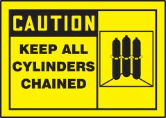 - OSHA Caution Chemical & Hazardous Material Label: Keep All Cylinders Chained