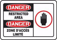 - Bilingual OSHA Danger Safety Label: Restricted Area