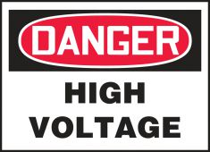 - OSHA Danger Safety Label: High Voltage
