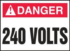 - ANSI Danger Electrical Safety Label: 240 Volts
