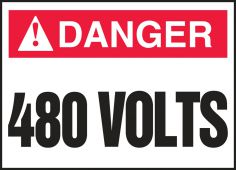 - ANSI ISO Danger Safety Label: 480 Volts