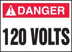 - ANSI Danger Electrical Safety Label: 120 Volts