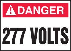 - ANSI Danger Electrical Safety Label: 277 Volts