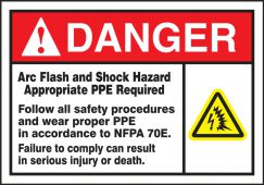 - ANSI Danger Arc Flash Safety Label: Arc Flash And Shock Hazard (Symbols)