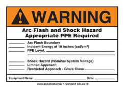 - ANSI Warning Electrical Safety Label: Arc Flash And Shock Hazard - Appropriate PPE Required (Form)
