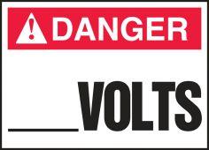 - ANSI Danger Safety Label: Electrical - _____ Volts