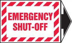 - Safety Label: Emergency Shut-Off with arrow