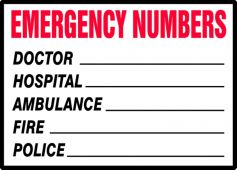 - Safety Label: Emergency Numbers
