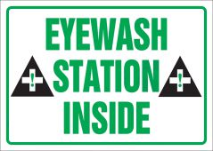 - Safety Label: Eyewash Station Inside