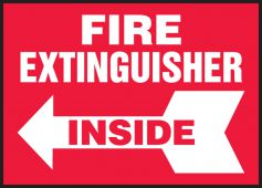 - Safety Label: Fire Extinguisher Inside (Left Arrow)