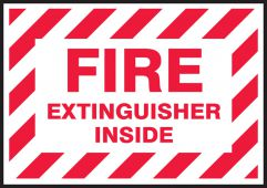 - Fire Extinguisher Label: Fire Extinguisher Inside (Striped Red On White)
