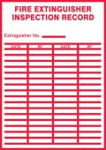 - Fire Safety Label: Fire Extinguisher Inspection Record (Red On White)