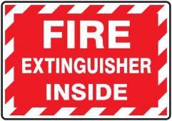 - Fire Extinguisher Label: Fire Extinguisher Inside (Striped)
