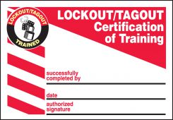 - Lockout/Tagout Label: Lockout/Tagout Certification Of Training