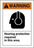 - ANSI Warning Safety Label: Hearing Protection Required In This Area